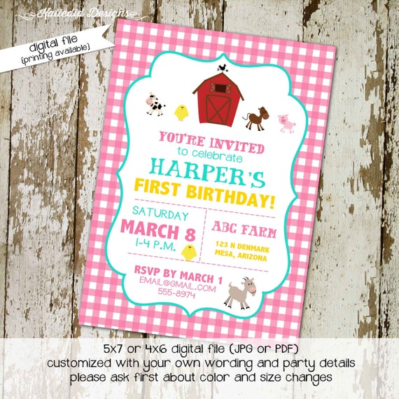 farm birthday invitation girl animals babyQ couples baby shower coed sprinkle sip see country barn rustic pink gingham | 286 Katiedid Design