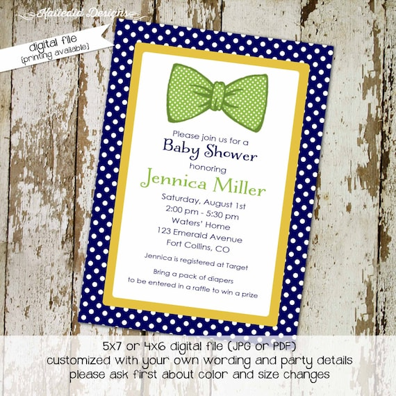 little man bow tie baby shower invitation boy gentleman first 1st birthday diaper wipes brunch couples coed retirement | 1242 Katiedid Cards