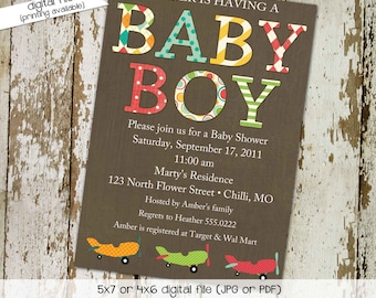 Adventure awaits couples baby shower invitation Vintage Airplane Travel Theme begins sip see boy twins oh the places   1293 Katiedid designs