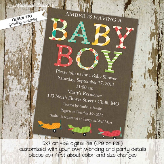 Adventure awaits couples baby shower invitation Vintage Airplane Travel Theme begins sip see boy twins oh the places | 1293 Katiedid designs