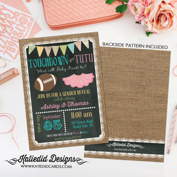 gender reveal invitation touchdowns or tutus baby shower neutral twin football coed sprinkle couples sip and see burlap | 1431 Katiedid Card