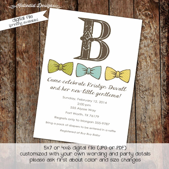 little man bow tie baby shower invitation boy gentleman first 1st birthday diaper wipes brunch couples coed retirement | 1241 Katiedid Cards