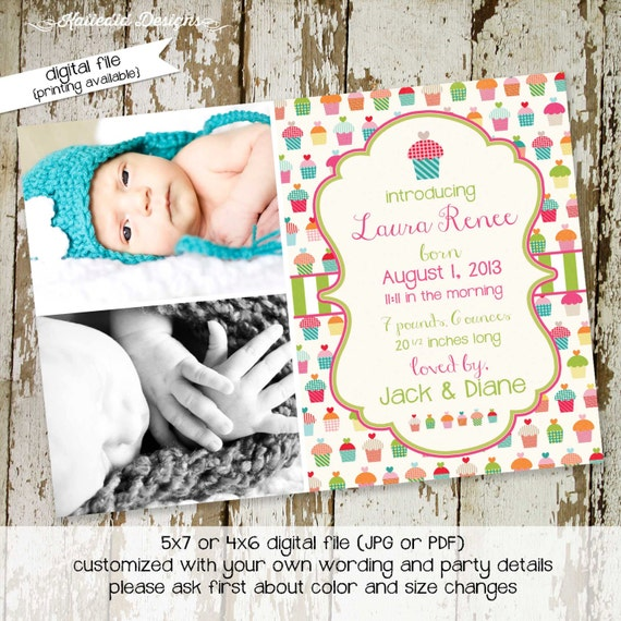 cupcake birthday invitation birth announcement pregnancy ultrasound photo picture couples baby shower sip see brunch | 402 Katiedid Designs