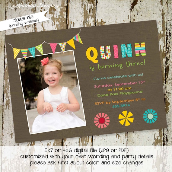 Rainbow invitation 1st first birthday party floral bunting picture ultrasound pregnancy announcement retirement gay | 225 Katiedid Designs