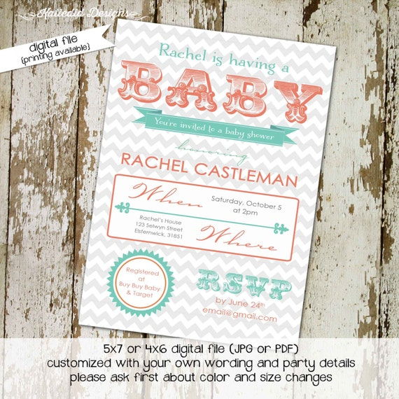 Couples baby shower invitation gender neutral reveal mint coral typography gray chevron twins sprinkle sip see diaper wipes | 1496 Katiedid