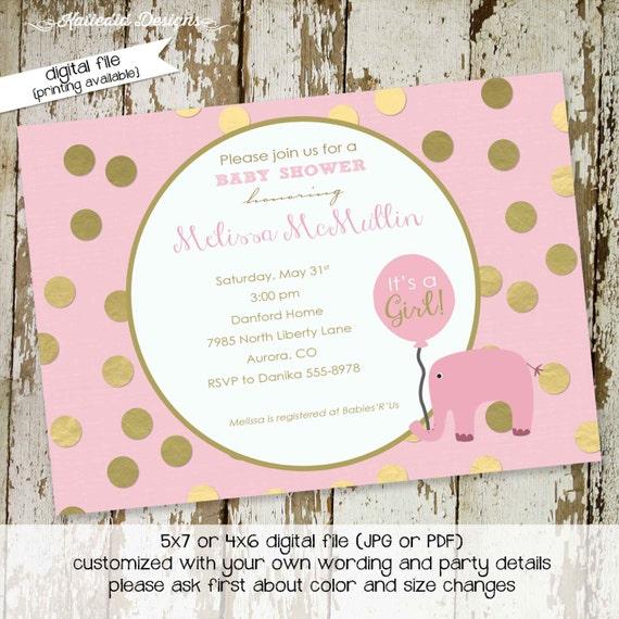 elephant baby shower invitation gold foil pink girl 1st birthday diaper wipes brunch safari sprinkle sip see baptism | 1342 Katiedid Designs