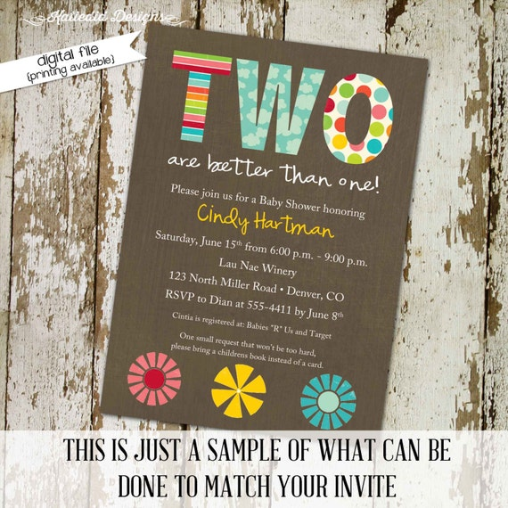 Twins baby shower invitation girl floral rainbow two wild birthday couples coed sprinkle rustic diaper wipes brunch | 153 Katiedid Designs