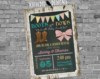 gender reveal invitation boots or bows wood lace chalkboard bunting banner twins baby shower rustic birthday girl boy | 1410 Katiedid Cards