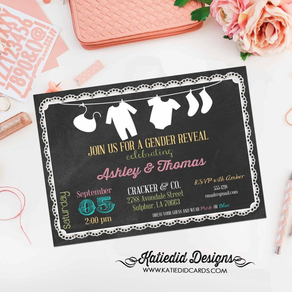 gender reveal invitation baby shower diaper wipes brunch sip and see sprinkle neutral couples coed chalkboard laundry | 124 Katiedid Designs