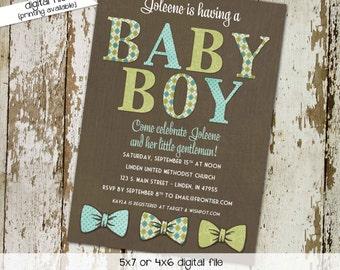 little man bow tie baby shower invitation boy gentleman first 1st birthday diaper wipes brunch couples coed retirement   1287 Katiedid Cards