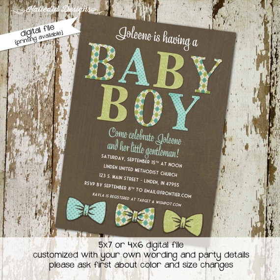 little man bow tie baby shower invitation boy gentleman first 1st birthday diaper wipes brunch couples coed retirement | 1287 Katiedid Cards
