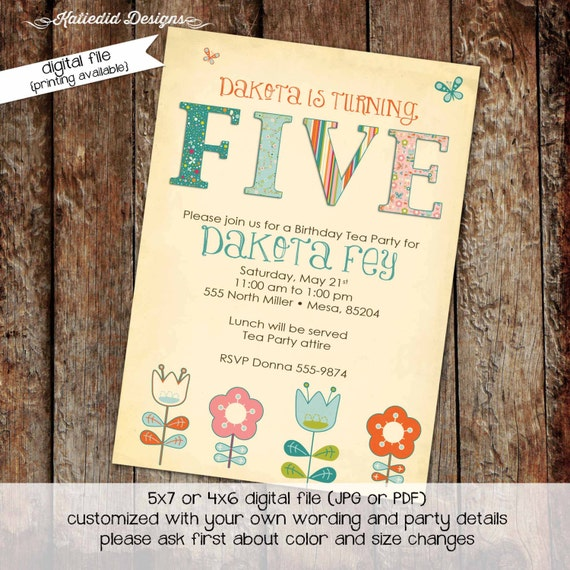 floral chic invite tea party birthday invitation co-ed baby shower little girl birthday invite surprise gender reveal 216 Katiedid Designs