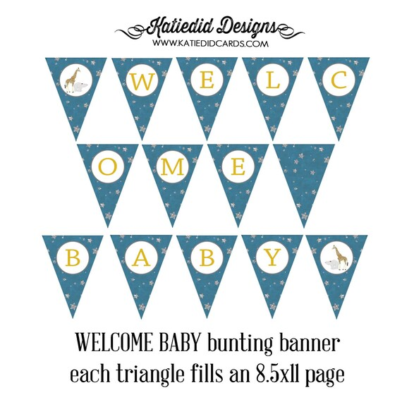 on the night you were born theme surprise gender reveal co-ed baby shower WELCOME BABY triangle pendant bunting banner 1422 katiedid designs