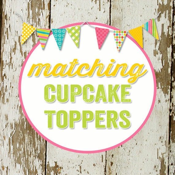 CUPCAKE TOPPERS to match any design for baby shower or birthday party, digital file, printable katiedid designs cards