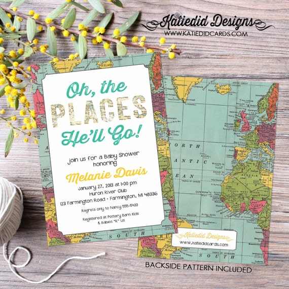 Travel theme Adventure awaits baby shower invitation world map oh the places you'll go gender reveal graduation coed | 1294 Katiedid Designs