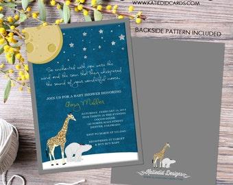 On the night you were born Rustic shower invitations gender neutral little boy 1st birthday invite little girl polar bear   1422 katiedid
