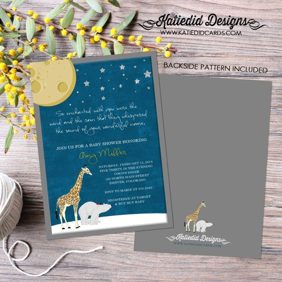 On the night you were born Rustic shower invitations gender neutral little boy 1st birthday invite little girl polar bear | 1422 katiedid