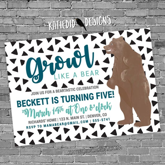 teddy bear birthday invitation couples baby shower sprinkle coed boy gender neutral reveal sip see brunch growl confetti | 2002 Katiedid