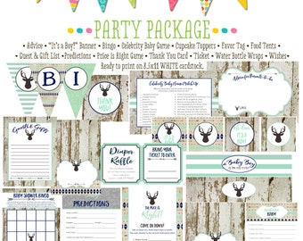 deer baby shower party package boy oh boy boho tribal arrows mint navy wood rustic cupcake toppers wishes for baby 1238 Katiedid Designs