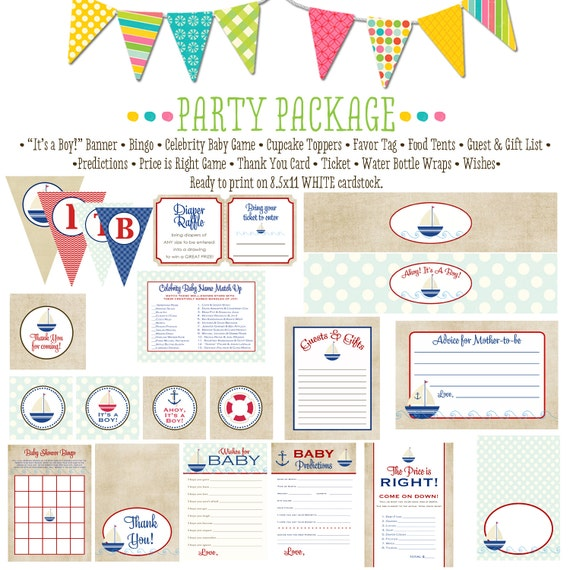 Nautical baby boy sail boat item 1251 package AS IS Matching games, ticket, banner bingo thank you card, water bottle wraps, cupcake toppers