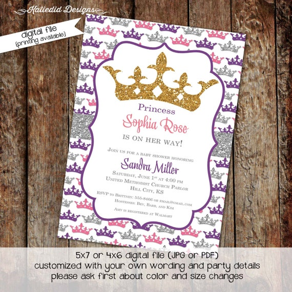 Once upon a time invitation, princess baby shower, girl baptism invitation | 1305 Katiedid Designs