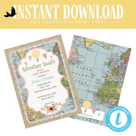 Adventure awaits baby shower invitation Hot air balloon Travel Theme gender neutral reveal sip see sprinkle oh places you go | 1455 Katiedid
