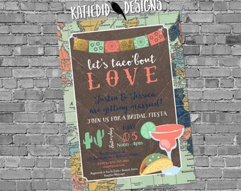 Fiesta Invitation couples shower bridal taco world map papel picado stock the bar I do BBQ engagement party rehearsal dinner | 340 Katiedid