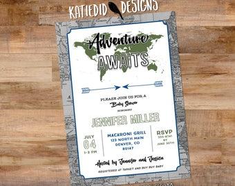 travel theme graduation invitation Adventure awaits baby shower gender neutral tribal arrow world map couples coed birthday   12129 Katiedid