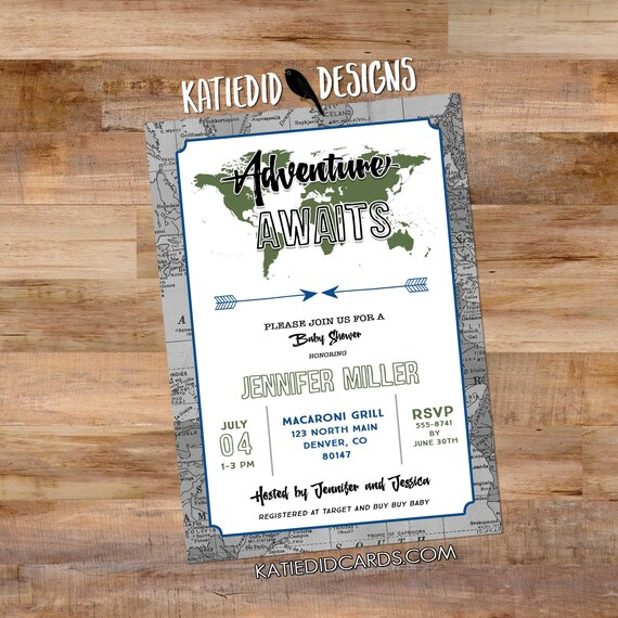 travel theme graduation invitation Adventure awaits baby shower gender neutral tribal arrow world map couples coed birthday | 12129 Katiedid