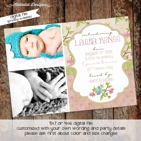 baptism invitation boho birth announcement baby blessing ultrasound photo couples baby shower floral girl twins coed | 441 Katiedid Designs