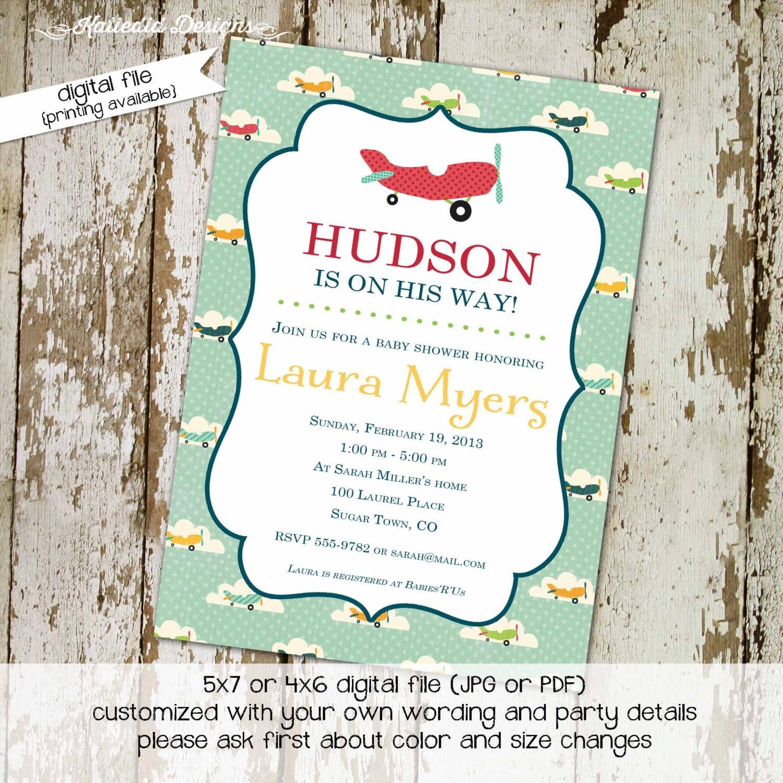 Airplane baby shower invitations Travel baby shower invitation ...
