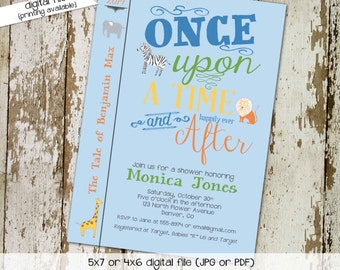 once upon a time storybook gender reveal safari baby shower invitation library book theme happily ever after lion elephant | 12103 katiedid