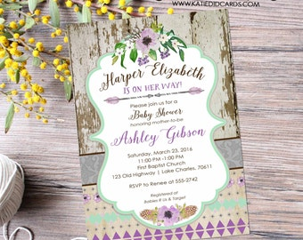 couples shower invitation baby girl bridal purple happily ever after tribal floral mint two moms BOHO brunch coed   1313 Katiedid Designs