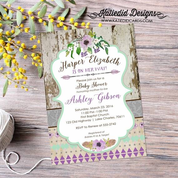 couples shower invitation baby girl bridal purple happily ever after tribal floral mint two moms BOHO brunch coed | 1313 Katiedid Designs