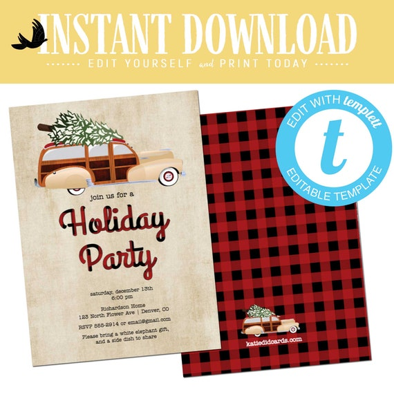 Buffalo Plaid Christmas Party invitation, Ugly sweater holiday party kraft paper editable templett | 892 Katiedid Designs