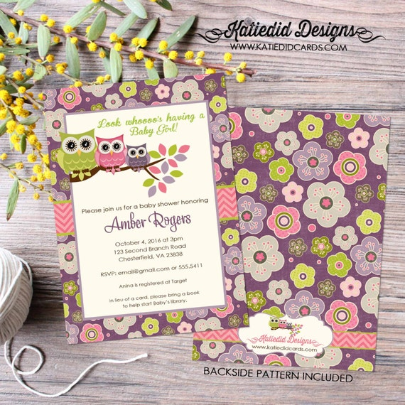 owl baby shower invitation couples coed sprinkle sip see girl pink purple floral birthday baptism twins diaper wipes   1301 Katiedid Designs