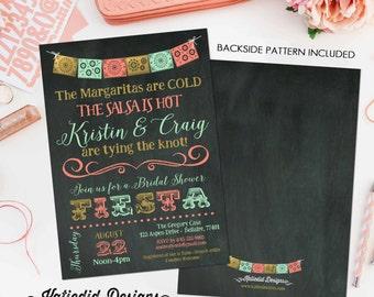 Cinco de Mayo Bridal Shower Fiesta invitation couples Rehearsal Dinner Papel Picado Mint coral Stock the bar   354 Katiedid Designs