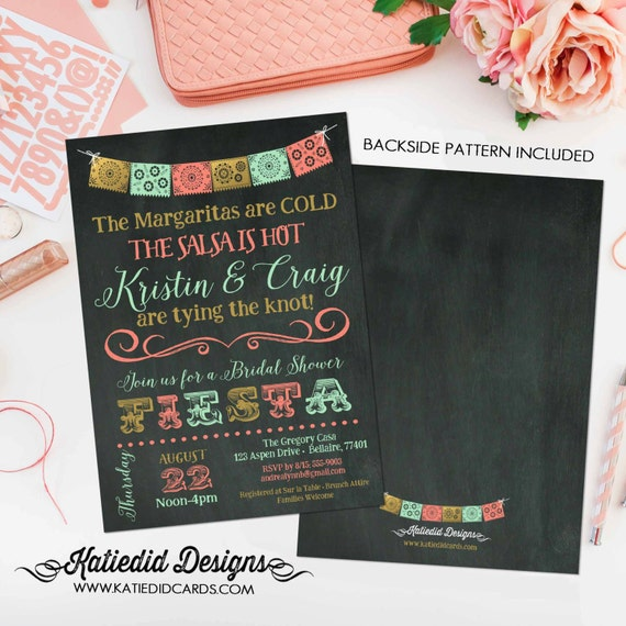 Cinco de Mayo Bridal Shower Fiesta invitation couples Rehearsal Dinner Papel Picado Mint coral Stock the bar | 354 Katiedid Designs