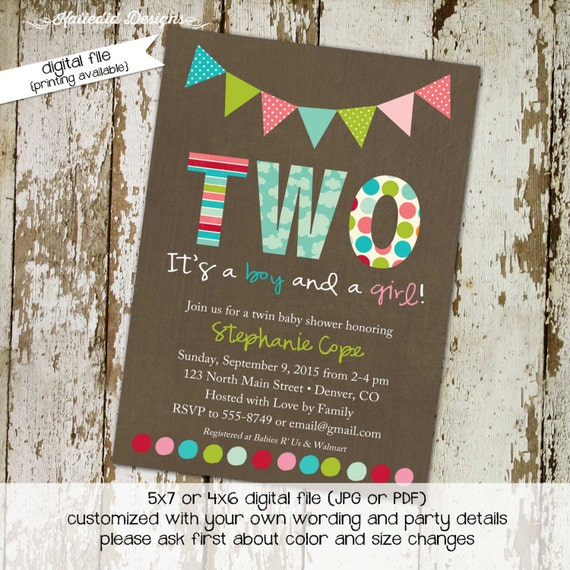 twins baby shower invitation couples coed gender reveal neutral double two moms boy girl diaper wipes sprinkle birthday | 1514 Katiedid card