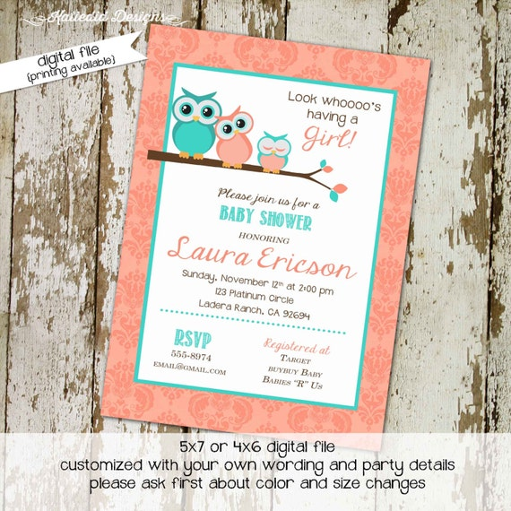 Owl baby shower invitation Couples diaper wipes birthday invitations Rustic gender neutral Turquoise Coral Sip See Brunch | 1304 Katiedid