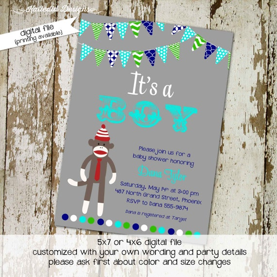 sock monkey baby shower invitation boy twins 1st birthday couples coed diaper wipes brunch sprinkle sip see navy gray | 1225 Katiedid Cards