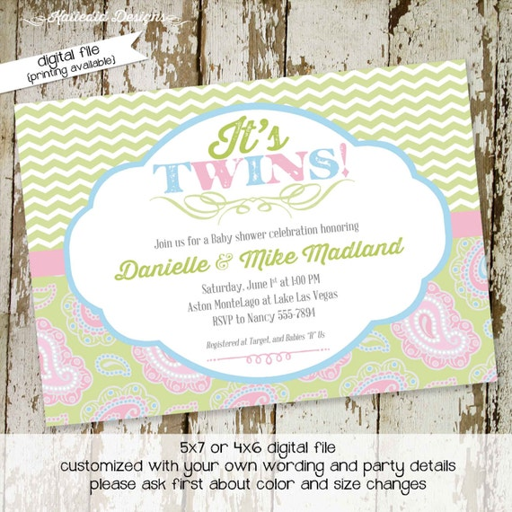 gender reveal invitation baby shower couples coed party neutral twins diaper wipes sip see books brunch paisley sprinkle gay   1522 Katiedid