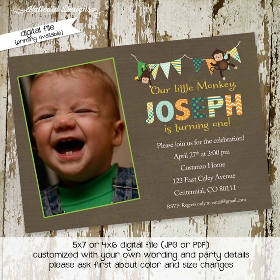 monkey birthday invitation twins baby shower ultrasound photo pregnancy announcement picture boy couples coed diaper wipes | 209 Katiedid