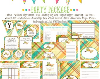owl baby shower surprise gender reveal diaper wipe brunch co-ed two moms baby shower party package party game banner 1216 Katiedid Cards
