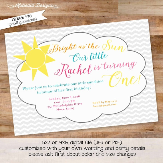 you are my sunshine birthday invitation brighter than the sun first communion baptism christening tea party little girl | 248 Katiedid Cards