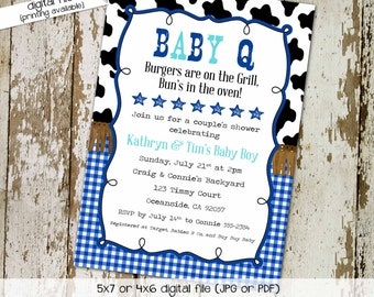 couples baby shower invitation BabyQ western country farm cowhide gingham blue boy I do BBQ engagement party stock the bar   1289 Katiedid