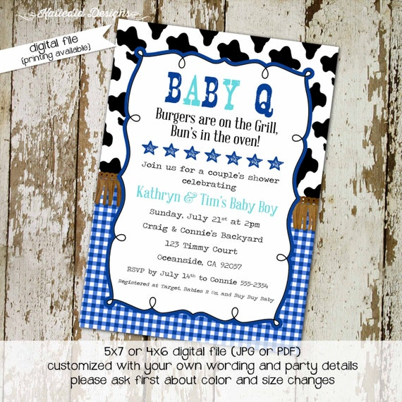 couples baby shower invitation BabyQ western country farm cowhide gingham blue boy I do BBQ engagement party stock the bar | 1289 Katiedid