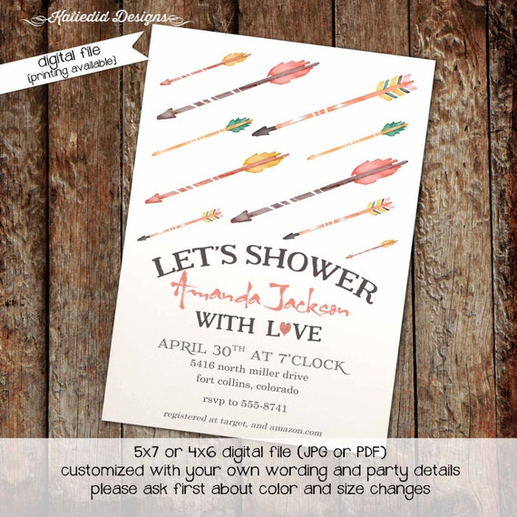 Couples shower Invitation bridal rainbow gay wedding Traveling Miss to Mrs tribal arrows boho I do BBQ engagement party | 316 Katiedid Cards
