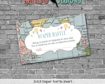 Travel Themed oh the places you'll go baby shower diapers for dad Adventure Awaits Diaper raffle insert enclosure card 1455 Katiedid Designs