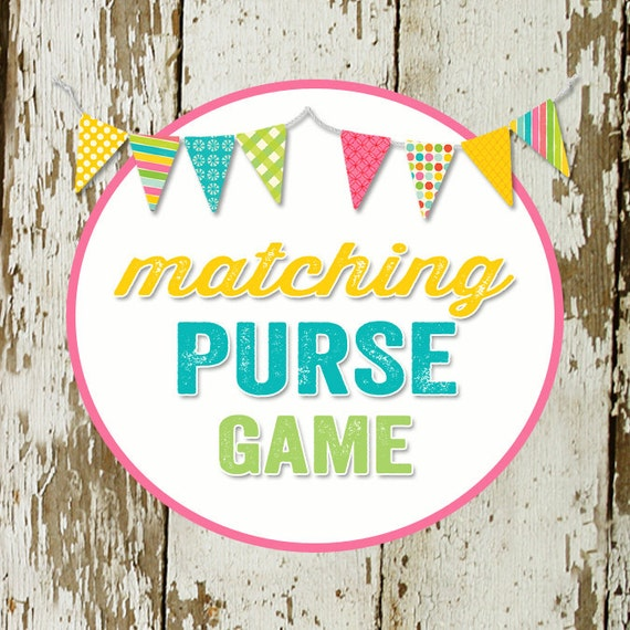 PURSE GAME card for baby or bridal shower, made to match any invitation, digital, printable file katiedid designs card
